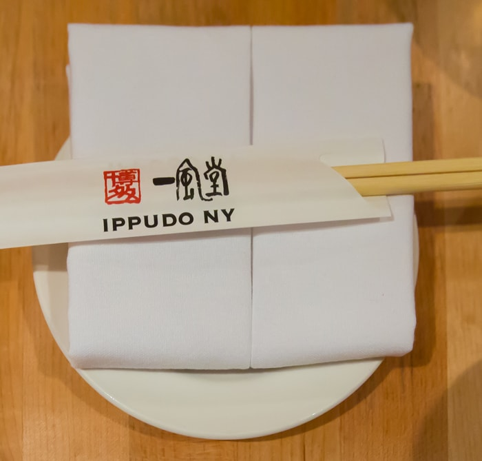 photo of the place setting at Ippudo restaurant