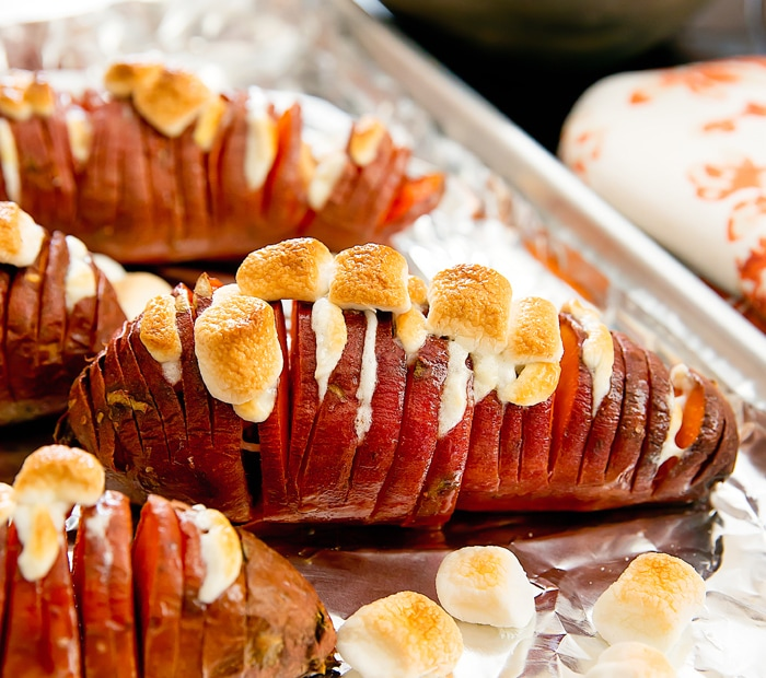 Marshmallow Stuffed Hasselback Sweet Potatoes