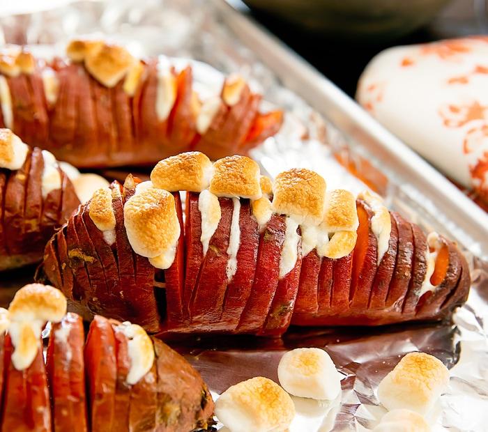 Marshmallow Stuffed Hasselback Sweet Potatoes