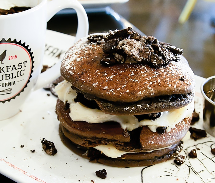 close-up photo of Oreo pancakes