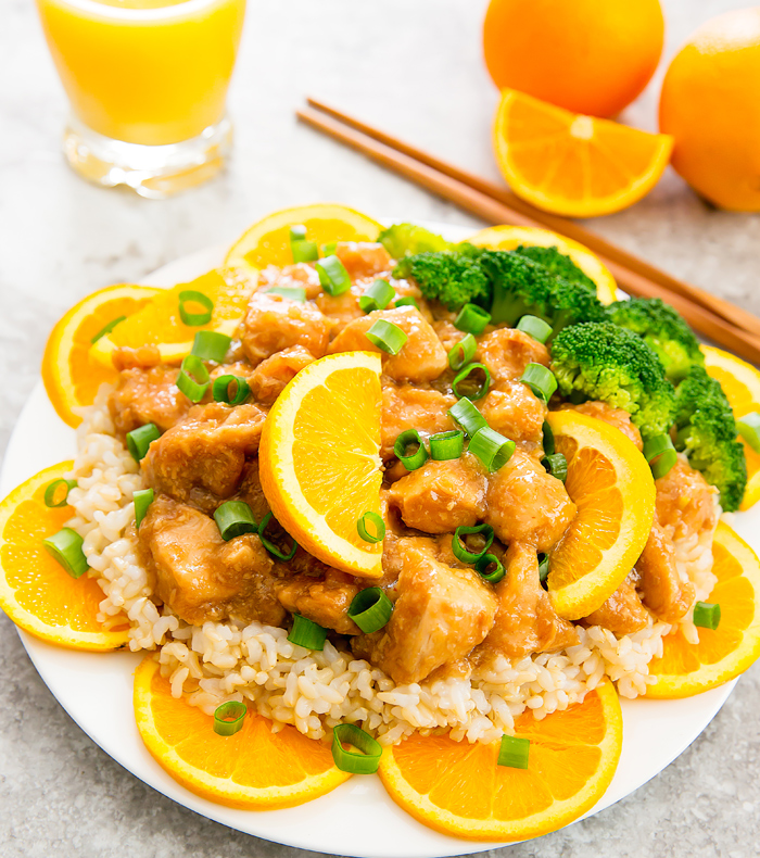 photo of a plate of Slow Cooker Orange Chicken