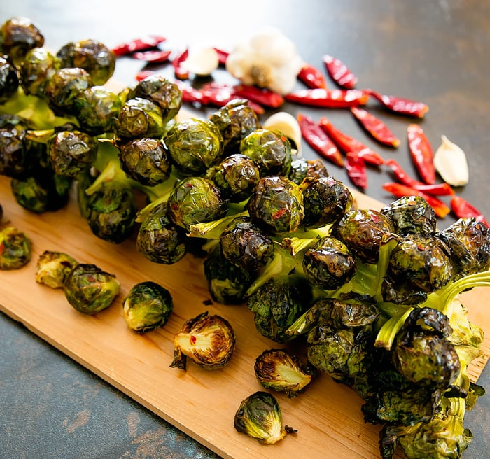 close-up photo of Roasted Brussels Sprouts Stalk