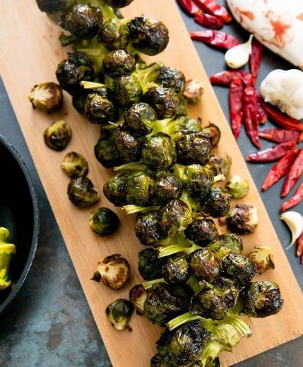 Spicy Garlic Brussels Sprouts Stalk