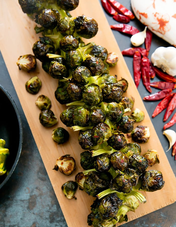 overhead photo of Spicy Garlic Brussels Sprouts Stalk