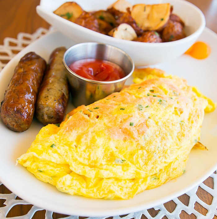 close up photo of the Salmon Omelet