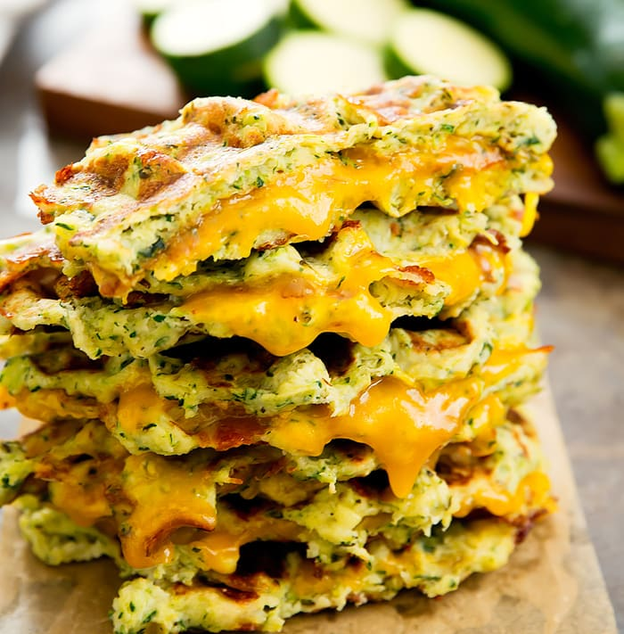 close-up photo of a stack of Zucchini Waffle Grilled Cheese Sandwiches
