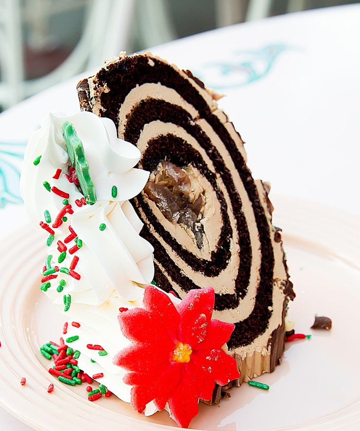 close-up photo of Yule Log Cake Slice from Plaza Inn