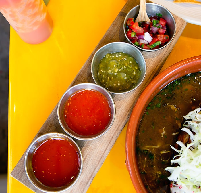 A variety of house-made salsas