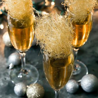 Champagne Cocktails with gold spun sugar