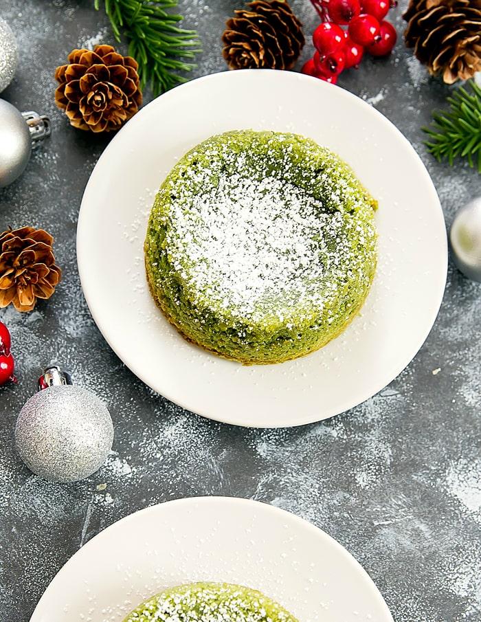 overhead photo of Matcha Green Tea Molten Lava Cakes