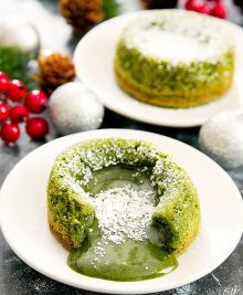 photo of two matcha green tea lava cakes
