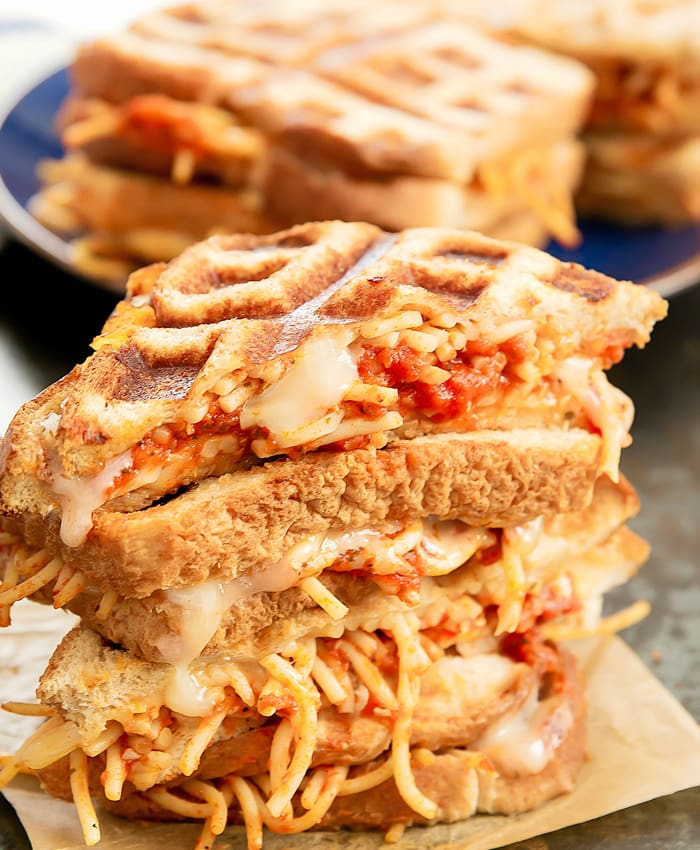 a stack Spaghetti Grilled Cheese sandwiches