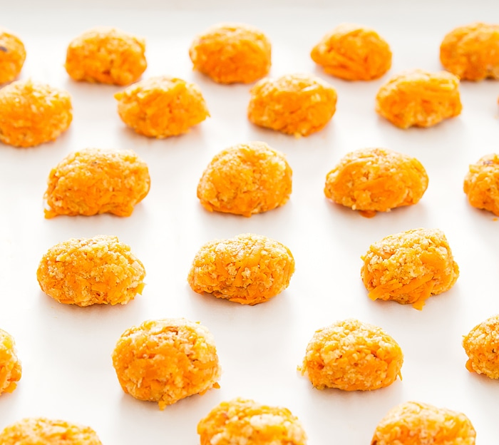 step by step photo of how to form the sweet potato tots