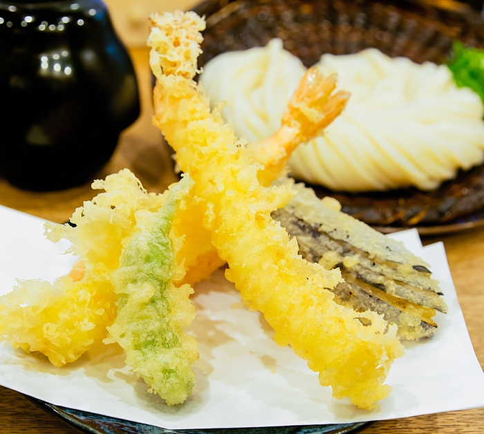 Cold Udon with Tempura at Udon Shin