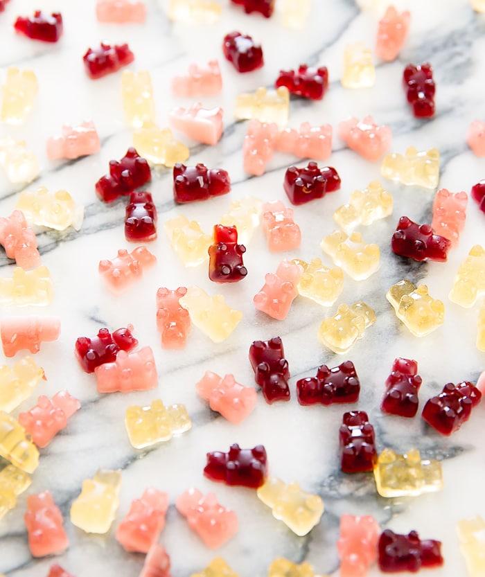 top-down photo of wine gummy bears