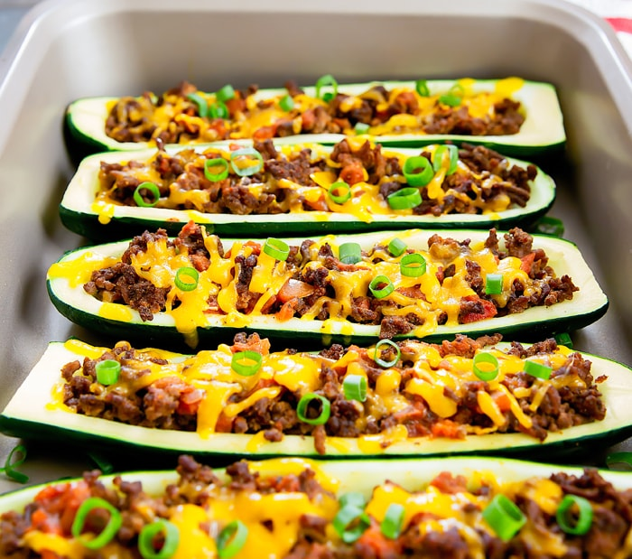 close-up photo of Taco Zucchini Boats