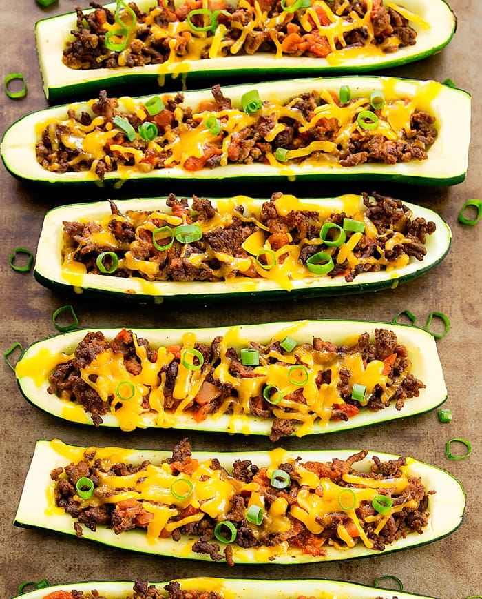 overhead photo of Taco Zucchini Boats