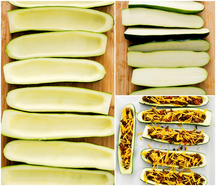 step by step photos showing how to prep the zucchini and how to stuff them with the filling