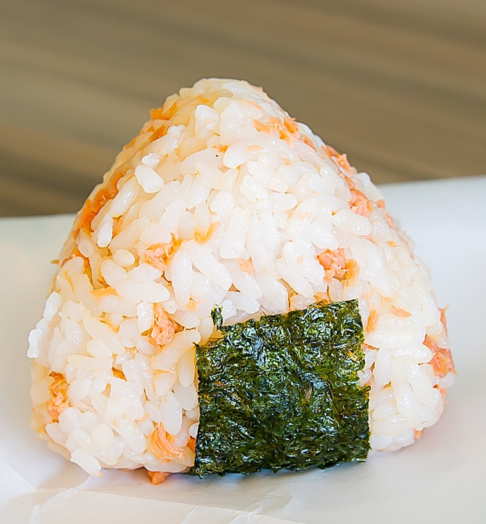 close-up of  onigiri