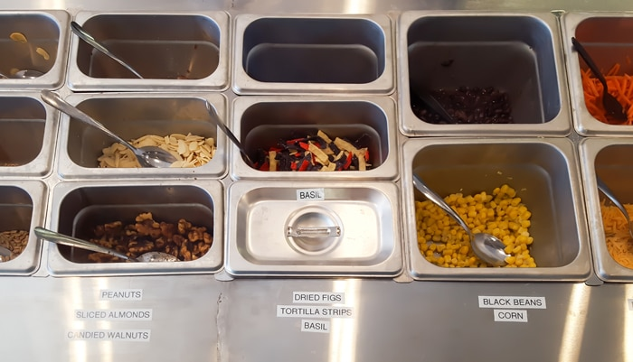 photo of salad toppings bar