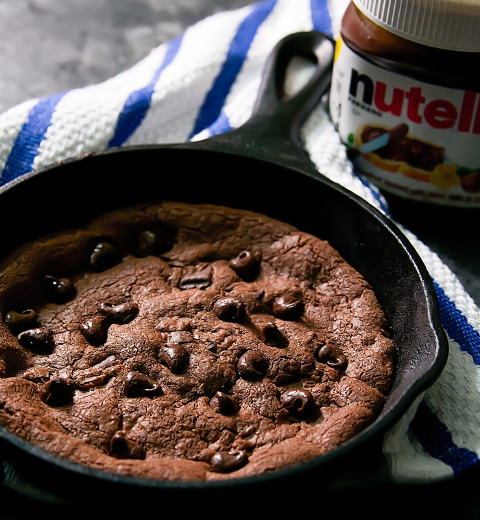 close up of Deep Dish Nutella Skillet Cookie