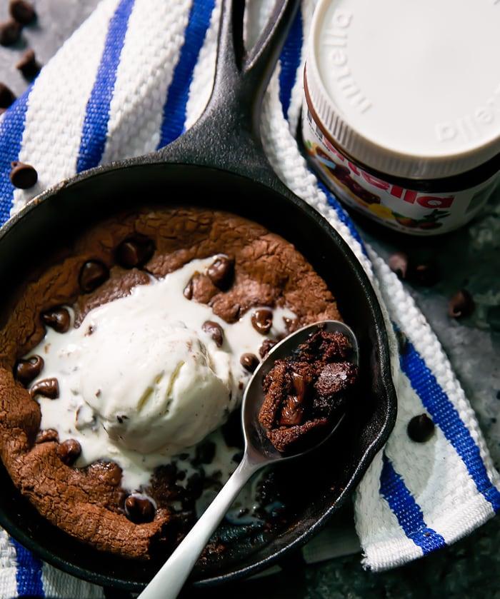 Deep Dish Nutella Skillet Cookie