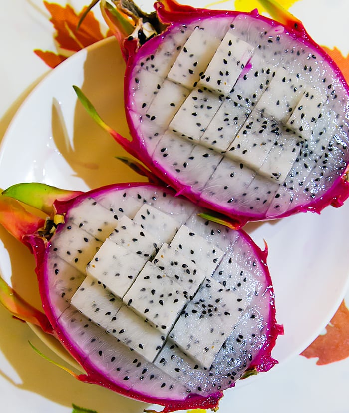 photo of a dragonfruit sliced in half