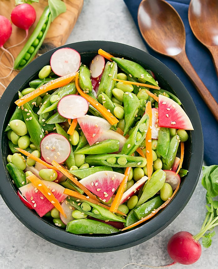 Edamame Snap Pea Salad with Sesame Dressing