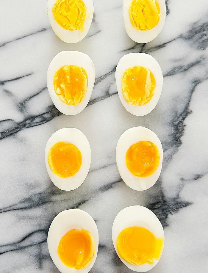 overhead photo of Hard and Soft Boiled Eggs