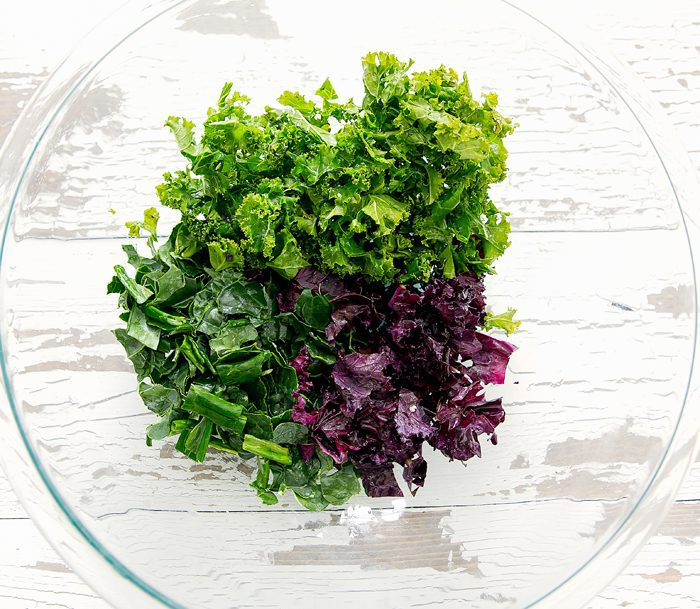 overhead photo of kale in a bowl