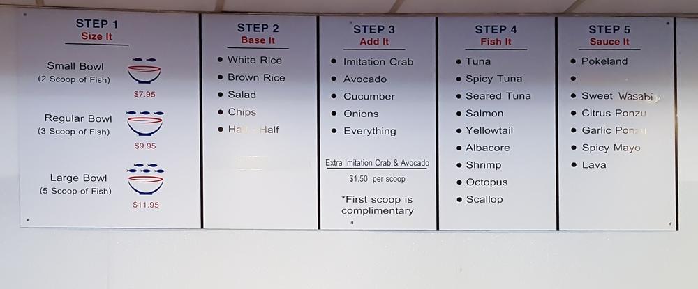 photo of the menu at pokeland