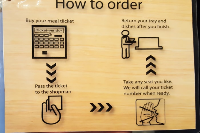 photo of a sign explaining how to order