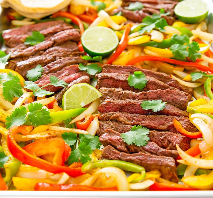 close-up photo of Sheet Pan Steak Fajitas