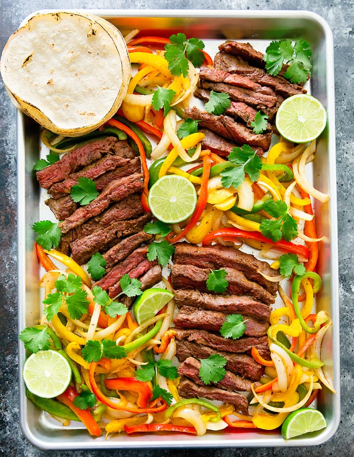 overhead photo of Sheet Pan Steak Fajitas