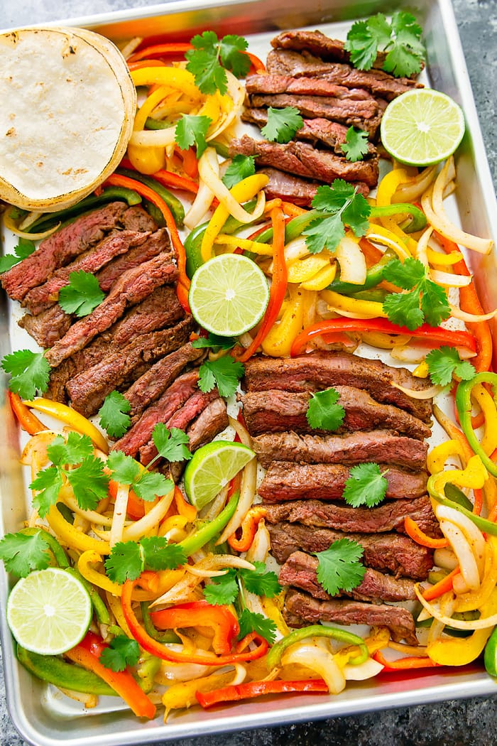 overhead photo of steak, peppers, and tortillas on a sheet pan