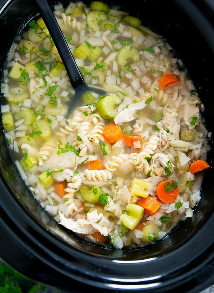 overhead photo of soup in a slow cooker