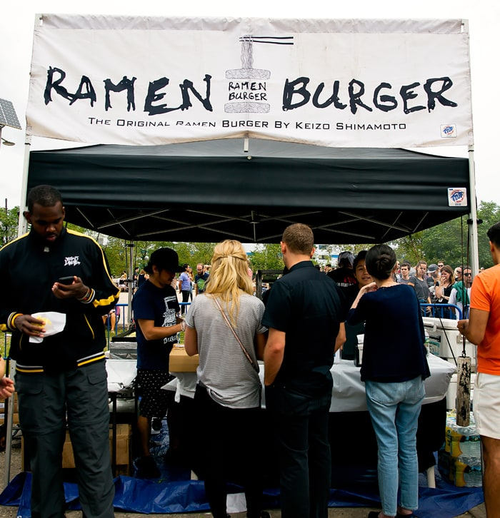 photo of the ramen burger booth