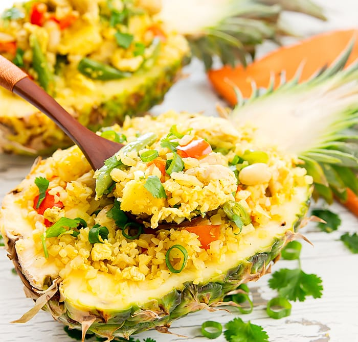 photo of a spoonful of Thai Pineapple Cauliflower Fried Rice