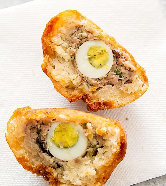 Original pork with quail egg and sausage