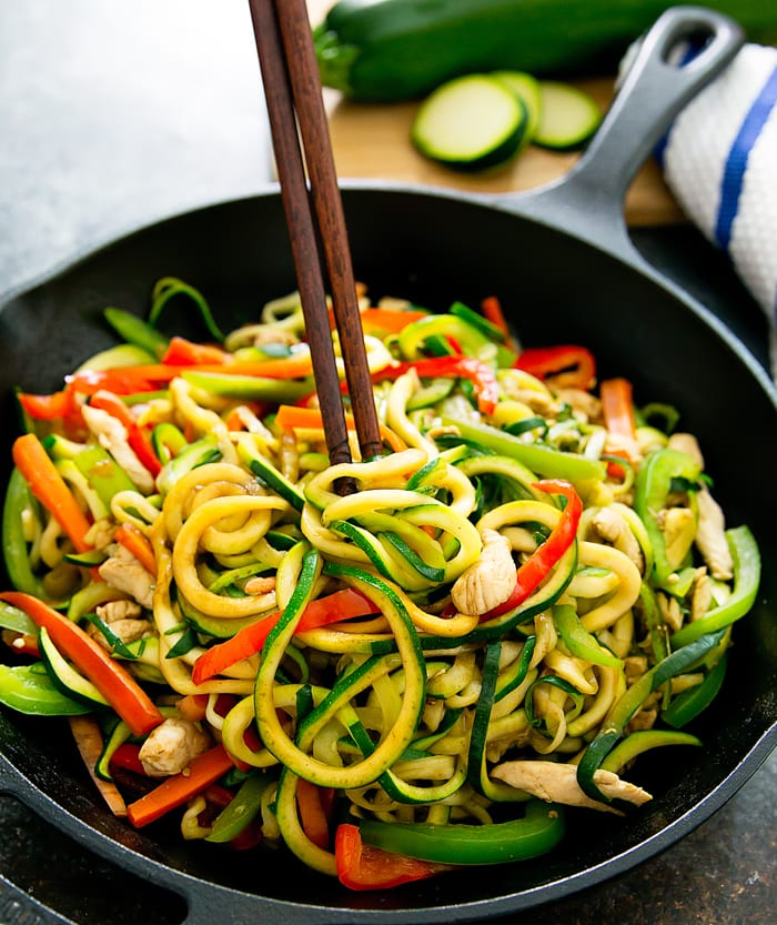 close-up photo of Stir Fry Zucchini Noodles Chow Mein with chopsticks
