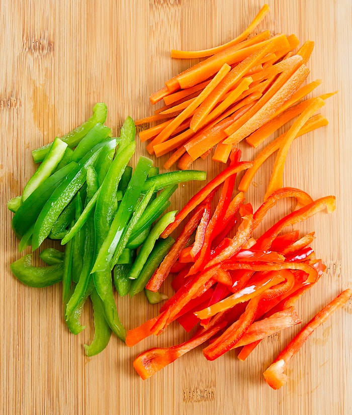 overhead photo of sliced peppers and carrots