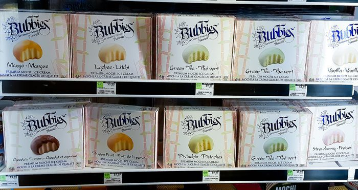 photo of packages of mochi ice cream in the freezer section at Whole Foods