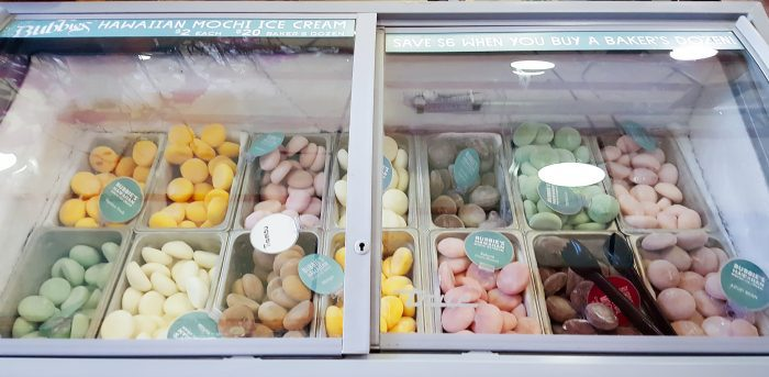 photo of the mochi ice cream options inside the case