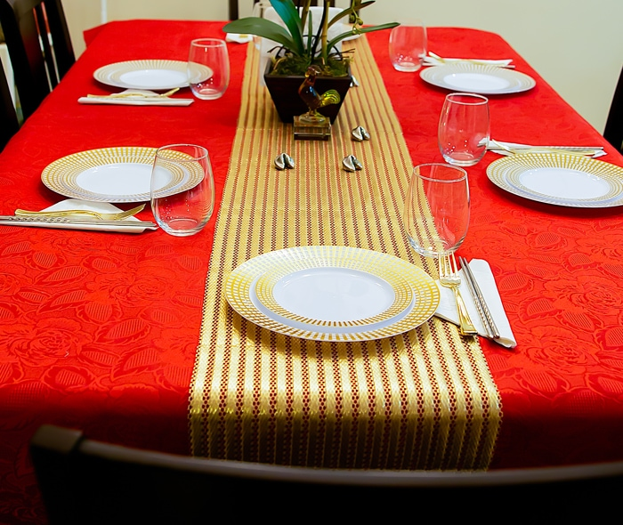 photo of the place setting for Chinese New Year
