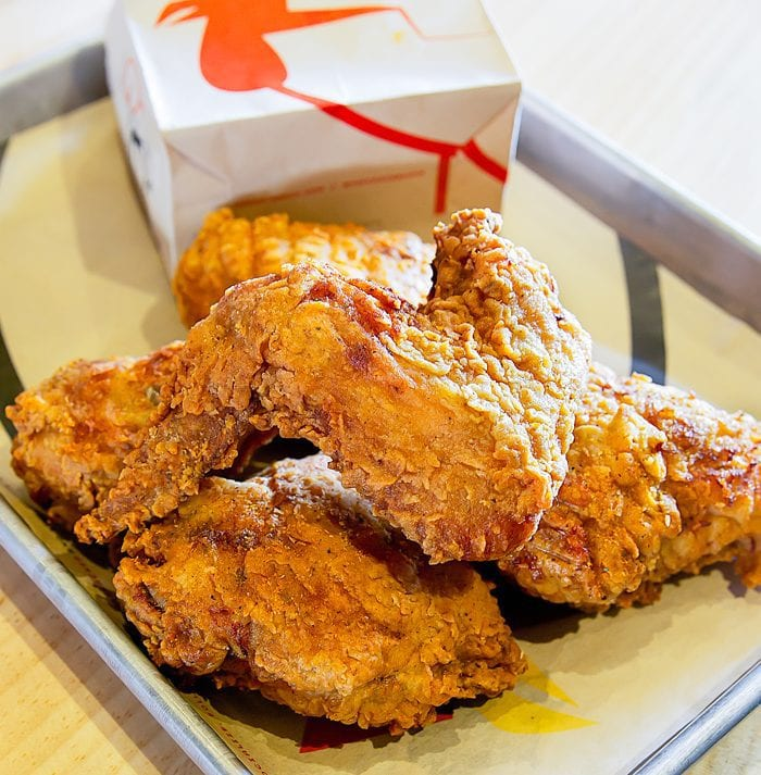 photo of a pile of  fried chicken