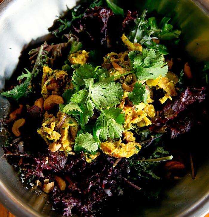 photo of smoked curry chicken & cashews salad