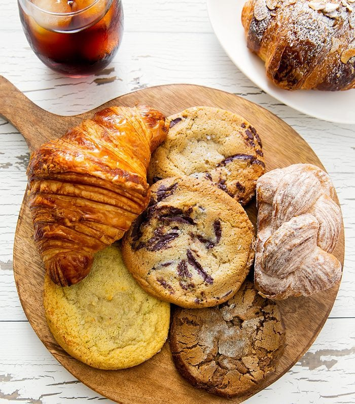 overhead photo of cookies and pastries