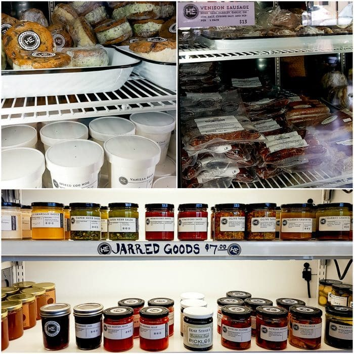 photo collage of the freezer and refridgerated sections at Herb & Eatery