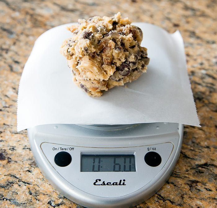 photo of a dough ball on a kitchen scale