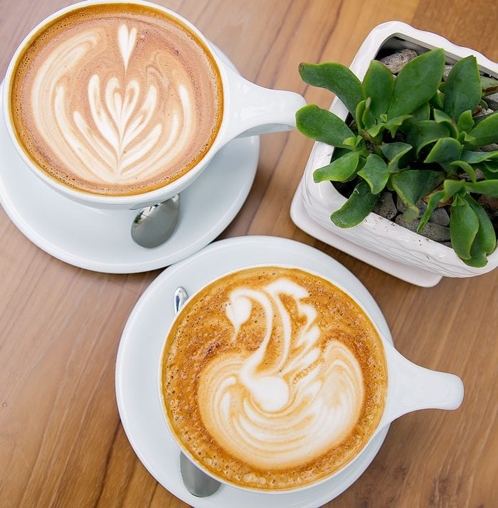 overhead photo of two drinks served at Lofty Coffee Co.